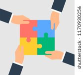 business hands putting puzzle... | Shutterstock . vector #1170930256