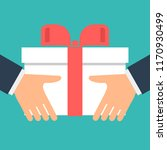 give gift. man holds white gift ... | Shutterstock . vector #1170930499