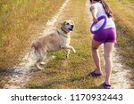 young girl with dog running on... | Shutterstock . vector #1170932443