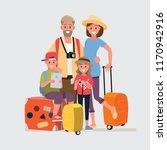 happy group of family traveler. ... | Shutterstock .eps vector #1170942916