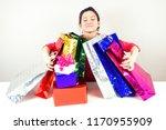 attractive happy brunette woman ... | Shutterstock . vector #1170955909