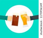 two hands of beer background.... | Shutterstock .eps vector #1170956149