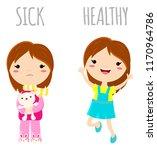 sick sad little girl in pajamas ... | Shutterstock .eps vector #1170964786