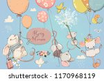 collection with cute birthday... | Shutterstock .eps vector #1170968119