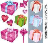 big set of colorful gift boxes... | Shutterstock .eps vector #117097396