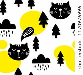 seamless pattern with cute cats ... | Shutterstock .eps vector #1170976996