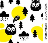 seamless pattern with cute owl... | Shutterstock .eps vector #1170977026