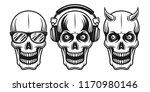 skulls set of three style with... | Shutterstock .eps vector #1170980146