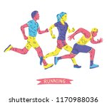 running marathon  people run ... | Shutterstock .eps vector #1170988036