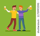 two cheerful drunk friends are... | Shutterstock .eps vector #1170995590