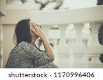 beautiful thai woman very sad... | Shutterstock . vector #1170996406