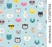 cartoon cute cats faces pattern | Shutterstock .eps vector #1171007026