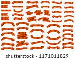 red shiny curved ribbons... | Shutterstock .eps vector #1171011829
