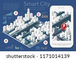3d map isometric city of mobile ... | Shutterstock .eps vector #1171014139