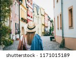 woman wearing jeans jacket and... | Shutterstock . vector #1171015189