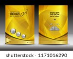 yellow cover template with city ... | Shutterstock .eps vector #1171016290