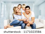 beautiful smiling lovely family ... | Shutterstock . vector #1171023586