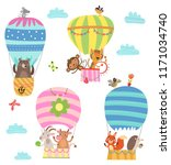 Stock vector flying animals cute illustration 1171034740
