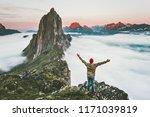 traveler enjoying sunset segla... | Shutterstock . vector #1171039819