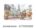 landmark with building view of... | Shutterstock .eps vector #1171053283
