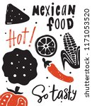 mexican food. vector hand drawn ...   Shutterstock .eps vector #1171053520