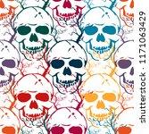 halloween seamless pattern with ... | Shutterstock .eps vector #1171063429