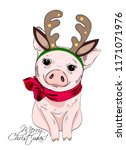 vector pig with christmas horns ... | Shutterstock .eps vector #1171071976