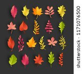 collection of paper autumn... | Shutterstock .eps vector #1171076500