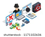 hacking clip art. isometric... | Shutterstock .eps vector #1171102636