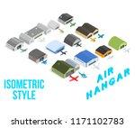 Air Hangar Concept Icons Set....
