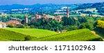 Scenic countryside and medieval village Castelvetro di Modena in Emiglia Romagna region. Italy