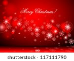 red background with snowflakes. ... | Shutterstock .eps vector #117111790