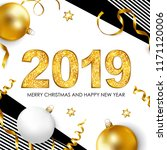 2019 merry christmas and happy... | Shutterstock .eps vector #1171120006