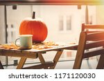 cup of coffee and pumpkin on... | Shutterstock . vector #1171120030