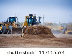 Bulldozer At Work With Mining...