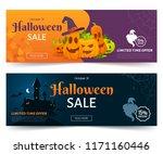 halloween sale promo web banner.... | Shutterstock .eps vector #1171160446
