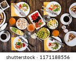 breakfast food table. festive... | Shutterstock . vector #1171188556