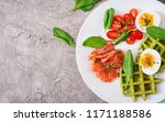 savory waffles with spinach and ... | Shutterstock . vector #1171188586