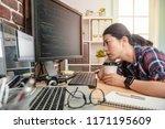 beautiful female programmer... | Shutterstock . vector #1171195609