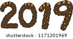 new year's 2019 letters of wild ... | Shutterstock .eps vector #1171201969