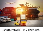 logistics and transportation of ... | Shutterstock . vector #1171206526