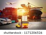 logistics and transportation of ... | Shutterstock . vector #1171206526