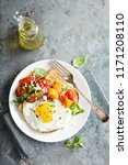 multigrain toast with fried egg ...   Shutterstock . vector #1171208110