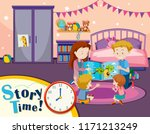 story time family reading... | Shutterstock .eps vector #1171213249