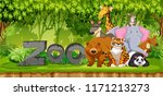 set of zoo animals in jungle... | Shutterstock .eps vector #1171213273