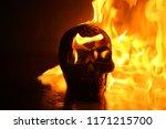 Halloween. Human Skull On Fire...