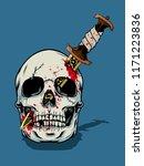 halloween skull illustration   | Shutterstock .eps vector #1171223836