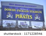 Small photo of Greenville, NC/United States- 10/03/2016: A look at the back of ECU's scoreboard just outside Dowdy Ficklen Stadium.