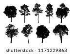 black tree silhouettes on white ... | Shutterstock . vector #1171229863