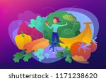 a white woman among fruits ... | Shutterstock .eps vector #1171238620